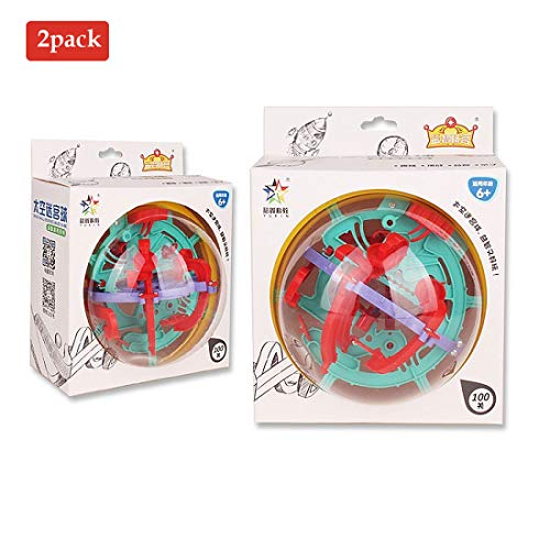 lurui 2pack Maze Ball Game 3D Intellect Ball with 100 Challenging Barriers 3D Labyrinth Ball for Kids 3D Puzzle Toy Magical Maze Ball Brain Teasers Puzzle ga ()