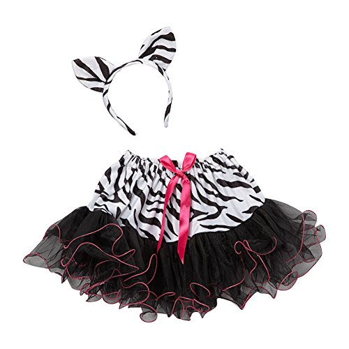 Girls Chiffon Zebra Tutu Skirt and Headband Costume (Zebra Tutu With Headband)