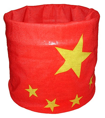Red Yellow China Chinese Flag Multi Function Microfiber Headband Face Mask Headwrap