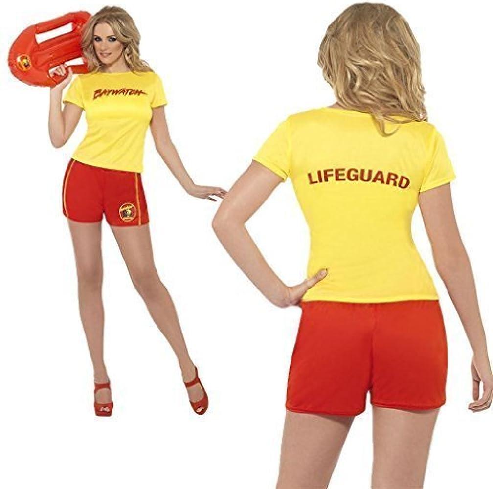 Hombre Mujer Amarillo Socorrista Top con pantalones cortos hombre ...
