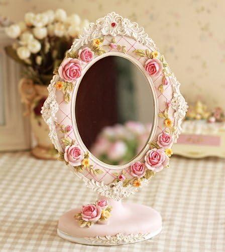 ロマンチックな 姫系 ゴージャスな スタンドミラー 薔薇 モチーフ ロマンチック風 楕円形 ピンク
