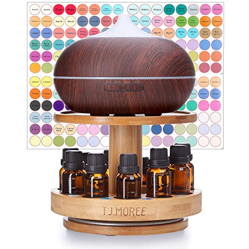 TJ.MOREE Bamboo Diffuser Holder Carousel- 2 Tier Height Increase Rack with Upper Tray for Holding Diffuser, for 5ml, 10ml, 15ml, 20ml Essential Oils - Holder Upper