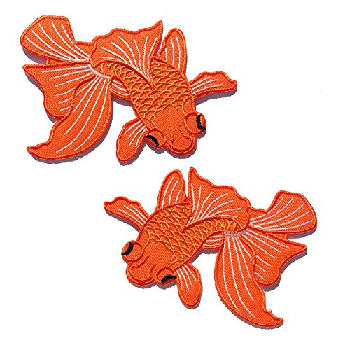 Japanese Koi Fish Patches - Set of 2 Iron-on Patches - Left and Right - Orange - Size 3x4 (Gift Ready Packaging!)