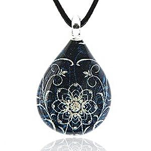 Hand Blown Venetian Murano Glass Blue Glitter Mandala Flower Art Pendant Necklace, 17-19 inches
