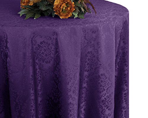 Wedding Linens Inc. 132 Inch Round Marquis Jacquard Damask Polyester Tablecloths Table Cover Linens for Restaurant Kitchen Dining Wedding Party Banquet Events - Eggplant (Damask Tablecloth Eggplant)