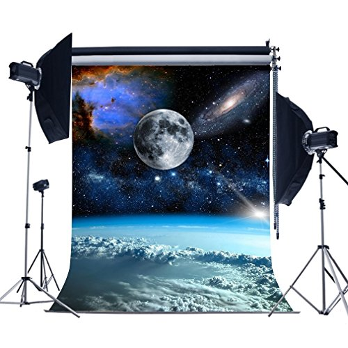 MUEEU 8x8ft Full Moon Galaxy Backdrops Universe Vinyl Photography Background Amateur Astronomer Vinyl Birthday Photo Shoot Studio Props]()