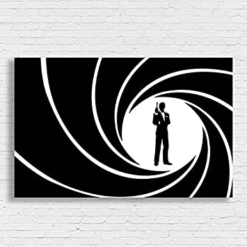 James Bond 007 Movie Film Poster Black White Framed Print Picture