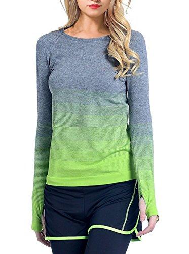 IVVIC Yoga Sports Gradient color Long Sleeve Shirt Women Slim Outdoor T-Shirt Fitness Tops (M - Shirt Running Women's