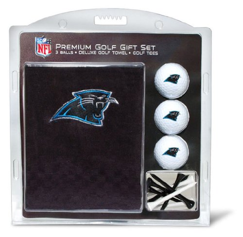Team Golf NFL Carolina Panthers Gift Set Embroidered Golf Towel, 3 Golf Balls, and 14 Golf Tees 2-3/4