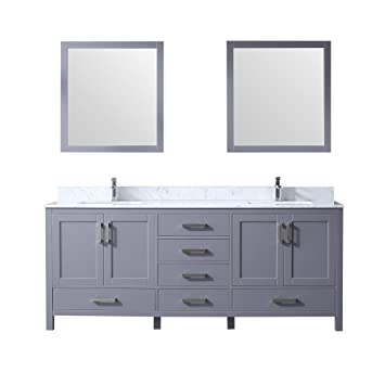 80 Double Vanity Dark Grey Wh Carrera Marble Top Wh Square Sinks