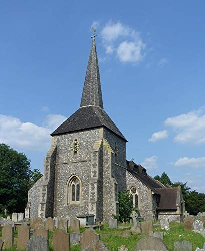 (Home Comforts Framed Art for Your Wall Banstead Surrey All Saints Church England Religious Vivid Imagery 10 x 13 Frame)