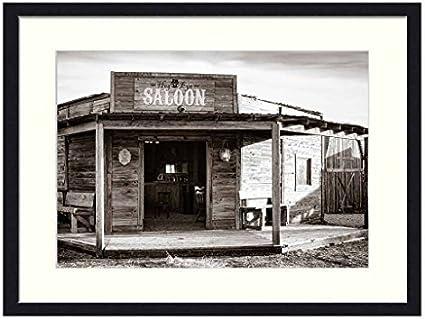 Viejo oeste Saloon – madera maciza marco de fotos Art Print (20 x 14 cm): Amazon.es: Hogar
