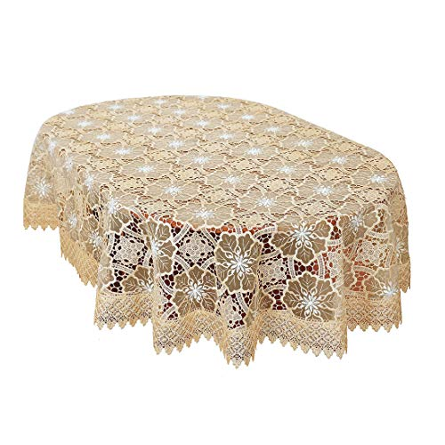 Oval Lace - Simhomsen Beige Embroidered Lace Tablecloth 60 × 84 Inch Oval