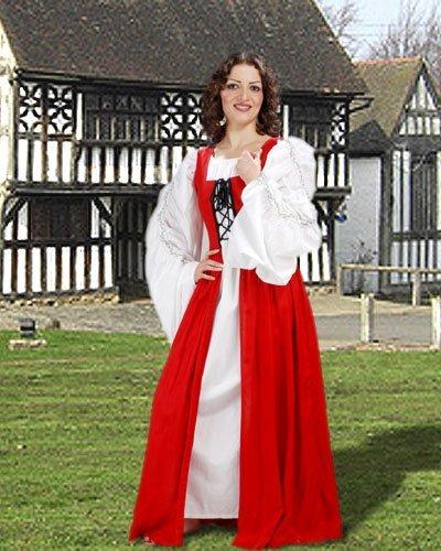 Medieval Renaissance Fair Maiden's Dress (Medium, Red) (Fair Maiden Renaissance Costume)
