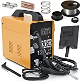 MIG Welder - ARKSEN MIG-130 Gas-Less Flux Core Wire Welder Welding Machine Automatic Feed, Yellow