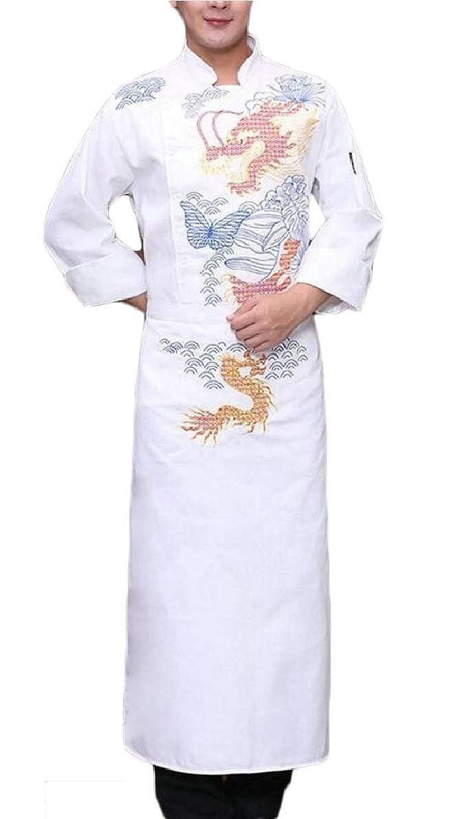 FLCH+YIGE Men Chinese Style 2 Piece Set Unisex Long Sleeve Chef Coat Jacket + Apron