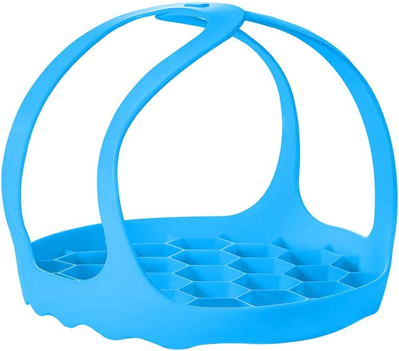 WeTest Multi-Function Pressure Cooker Sling - Silicone Bakeware Sling ,Anti-scalding Steamer Rack Lifter Accessories Compatible with Instant Pot 6 Qt and 8 Qt (Blue)