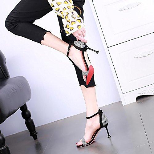 Mujer de tacón nbsp; Moda Sandalias nbsp;con nbsp; Tacones YMFIE Alto 黑色 de Sexy Abierta tacón Altos Stiletto Moda A0xwq85