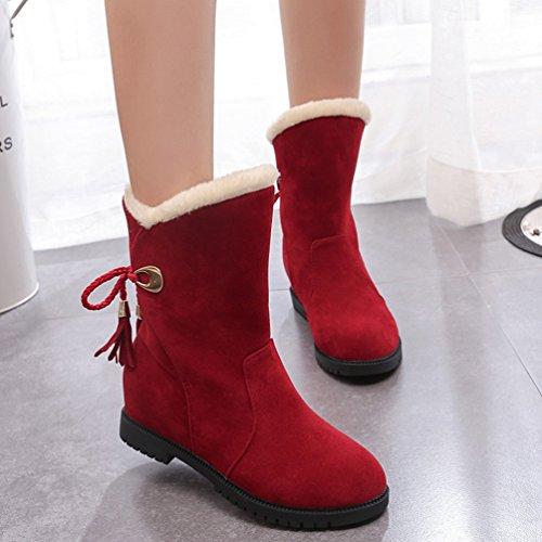 Rosso Stivali Foderato Stringata Caloroso Donna Dooxi Moda Stivaletti Inverno Neve Comoda nvqtnxX8w