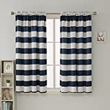 Deconovo Navy Blue Striped Blackout Curtains Rod Pocket Nautical Navy and Greyish White Striped Curtains for Kids Room 42W X 45L Navy Blue 2 Panels