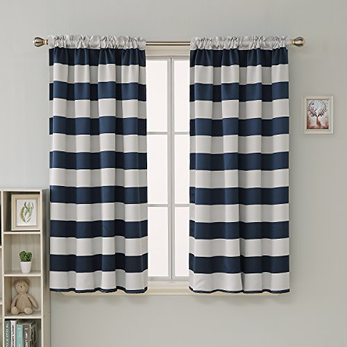 Deconovo Navy Blue Striped Blackout Curtains Rod Pocket Nautical Navy and Greyish White Striped Curtains for Kids Room 52W X 63L Navy Blue 2 -