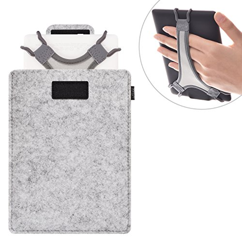 """TFY Protective Carrying Pouch Bag (Grey), plus Bonus Hand Strap Holder for 6 inch Tablets and E-readers, fits Fire HD 6"""" – Kindle / Kindle Paperwhite / Kindle Voyage and Other 6"""" E-Readers"""