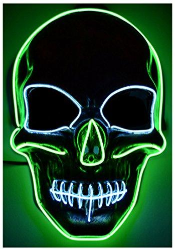 GlowCity Light Up Skull Mask-Uses El Wire (Green Skull Mask)]()
