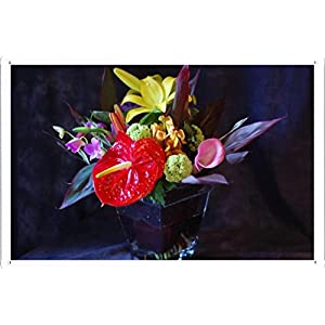"Flower Tin Sign Anthurium Calla Lily Flowers Bouquets Composition Vase 37622 by Waller's Decor (7.8""x11.8"") 19"