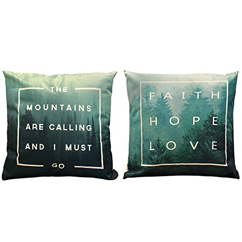 2 Packs Square Pillowcases - 20 X 20 Inch Decorative Throw Pillow Cover by Hippih , Mysterious Green