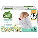 Seventh Generation Baby Diapers for Sensitive Skin, Animal Prints, Newborn, 144 count (Packaging May Vary)
