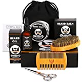 Men's Beard Grooming & Trimming Kit for Men Beard Care Gift Set, Growth & Groom with Unscented Oil, Natural Leave-In Balm Butter Wax, Beard Brush, Mustache & Beard Comb, Sharp Scissors