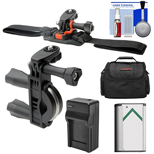 Essentials Bundle for Sony Action Cam HDR-AS50, AS200, AS300, FDR-X1000V & X3000 Camcorder with Handlebar Bike & Vented Helmet Mounts + Battery + Charger + Case + Accessory Kit by Vivitar