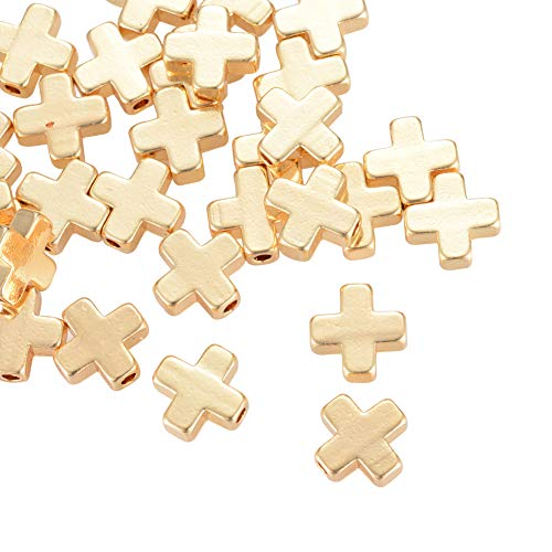NBEADS 20 Pcs Real Gold Plated Cross Beads Brass Loose Beads Spacer Beads for Jewelry Making