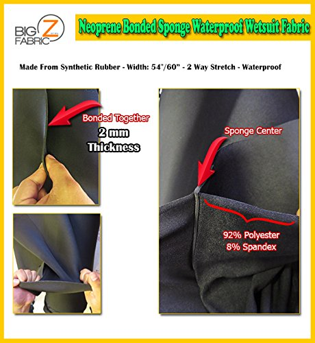 (Big Z Fabric NEOPRENE BONDED SPONGE WATERPROOF WETSUIT FABRIC Black 2MM THICK SOLD BY THE FOOT (BY THE FOOT))