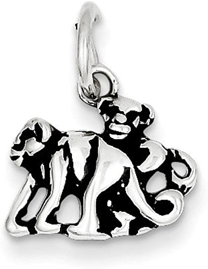 Sterling Silver Antiqued Monkey Charm on a Sterling Silver Chain Necklace 16 in-20 in