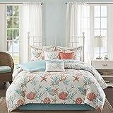 7 Piece White Aqua Blue Coral Pink Beach Comforter King Set, Starfish Bedding Sea Shells Ocean Themed Coastal Hawaii Tropical Under Water Pattern Nautical Cottage, Cotton