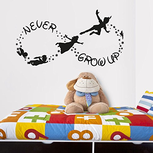 CreativeWallDecals Vinyl Wall Decal Sticker Bedroom Peter Pan Never Land Kids Never Grow up r1544