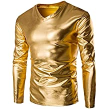 AmyDong Hot Sale Mens Metallic Shiny Wet Look Long Sleeve T-Shirt Top Slim V Neck Blouse Men's Self-cultivation Costume