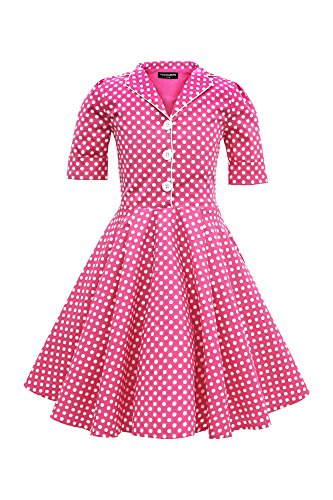 BlackButterfly Kids 'Sabrina' Vintage Polka Dot 50's Girls Dress (Pink, 3-4 YRS)