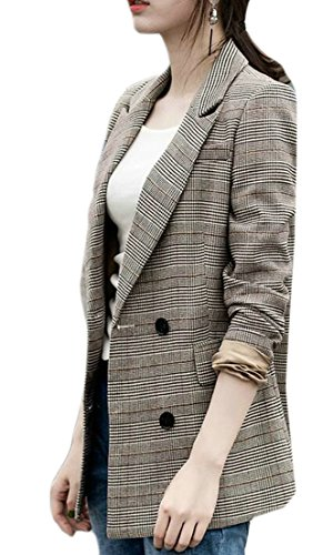 (Fulok Womens Lapel Slim Plaid Office Houndstooth Coat Blazer Jacket As Picture XXS)
