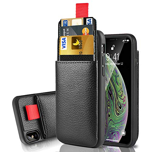 LAMEEKU Wallet Case for Apple iPhone Xs Max, 6.5-Inch, Protective Leather Cases with Credit Card Holder Slot Pocket, Shockproof TPU Bumper Phone Cover Compatible with iPhone Xs Max 6.5