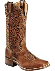 Boulet Womens Hand Tooled Calf Cowgirl Boot Square Toe - 2106