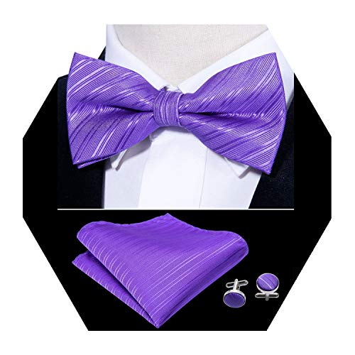 - Barry.Wang Mens Silk Bow Tie Pocket Square Solid Purple Bowtie Cufflinks Mens Necktie Set