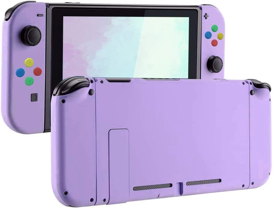 eXtremeBee Soft Touch Grip Back Plate for Nintendo Switch Console, NS Joycon Handheld Controller Housing with Colored Buttons, DIY Replacement Shell Case for Nintendo Switch Joy-Con (L/R) (Purple)