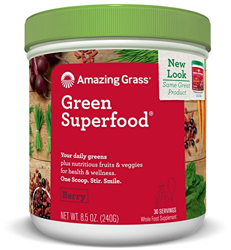 Amazing Grass Green Superfood, Berry, Powder, 30 Servings, 8.5oz, Wheat Grass, Spirulina, Alfalfa, Acai, Maca, Flax Seed, Detox, Active Cultures, Vitamin K, Greens, Probiotic