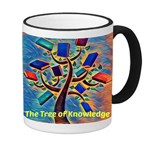 Tree of Knowledge Quote Printed Design 11 ounce Black Rim/Handle Ringer Ceramic Coffee Mug Tea Cup by Smarter Designs