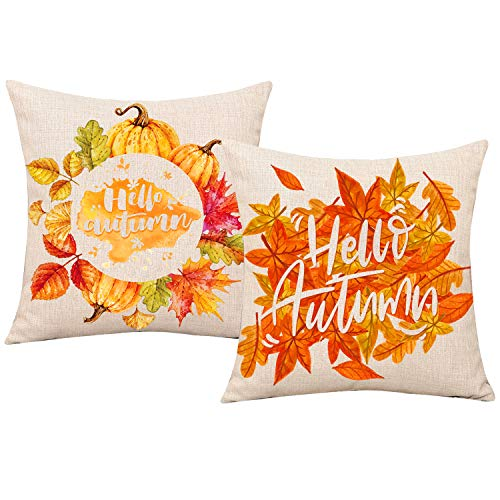 Whaline Hello Autumn Maple Leaf Pillow Cover Linen Sofa Bed Throw Pillow Case Thanksgiving Cushion Cover Home Decorative, 18 x 18 inch (2 Pack)