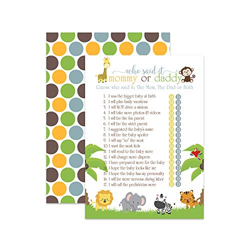 Jungle Baby Shower Game - Guess Who Mommy or Daddy - Set of 25]()
