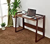 Cheap Laputa Foldable Computer Desk Natural Wood, Adjustable Height, Home Office Computer Desk For Small Spaces, Foldable Workstation With Easy Storage and Easy To Move Around(Nut-brown)