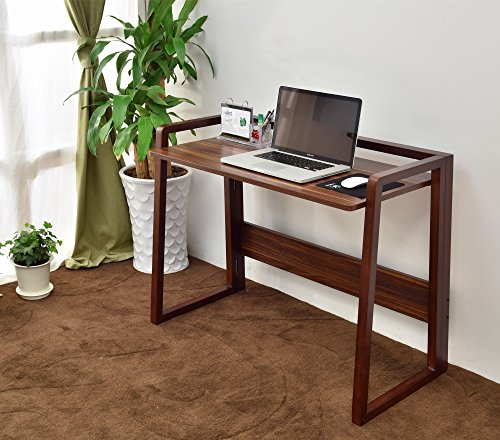 Laputa Foldable Computer Desk Natural Wood, Adjustable Height, Home Office Computer Desk For Small Spaces, Foldable Workstation With Easy Storage and Easy To Move Around(Nut-brown)